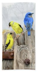 Misty Morning Meadow- Goldfinches And Bluebird Beach Towel