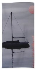 Beach Sheet featuring the painting Misty Morning Mooring by Jack Skinner