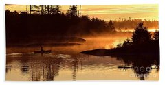 Misty Morning Paddle Beach Sheet by Larry Ricker