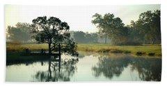Misty Morning Pond Beach Towel