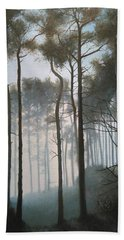 Misty Morning Walk Beach Towel