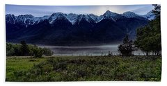 Beach Towel featuring the photograph Misty Mountain Morning Meadow  by Darcy Michaelchuk