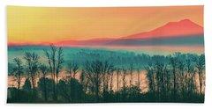 Misty Mountain Sunrise Part 2 Beach Sheet by Alan Brown