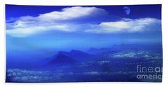 Misty Mountains Of San Salvador Panorama Beach Towel by Al Bourassa