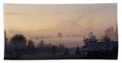 Misty Mt. Rainier Sunrise Beach Towel