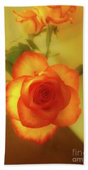 Misty Orange Rose Beach Towel
