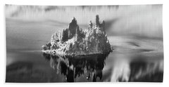 Beach Towel featuring the photograph Misty Phantom Ship Island Crater Lake B W  by Frank Wilson