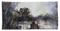 Misty Pond Beach Sheet by Geni Gorani