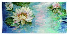 Misty Waters Waterlily Pond Beach Towel