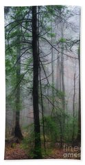 Misty Winter Forest Beach Towel
