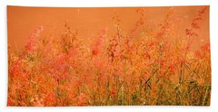 Misty Yellow Hue- Pink Blooms Beach Towel