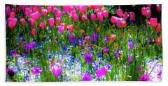 Mixed Flowers And Tulips Beach Towel
