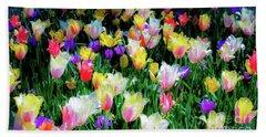 Mixed Tulips In Bloom  Beach Towel