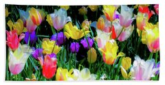 Beach Towel featuring the photograph Mixed Tulips In Bloom  by D Davila