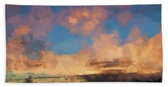 Moab Sunrise Abstract Painterly Beach Towel by David Gordon