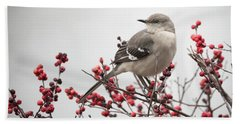 Mockingbird And Berries Beach Towel