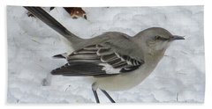 Mockingbird In The Snow Beach Towel