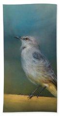 Mockingbird On A Windy Day Beach Towel by Jai Johnson