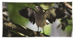 Mockingbird  Beach Towel by Terry DeLuco