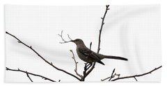 Mockingbird With Twig Beach Towel