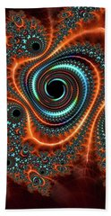 Beach Towel featuring the digital art Modern Abstract Fractal Art Orange Cyan by Matthias Hauser