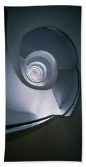 Beach Towel featuring the photograph Modern Blue Spiral Staircase by Jaroslaw Blaminsky