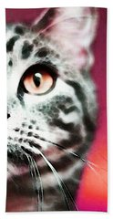 Modern Cat Art - Zebra Beach Towel by Sharon Cummings