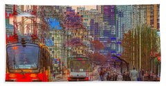 Beach Towel featuring the photograph Modern City Impression by Vladimir Kholostykh