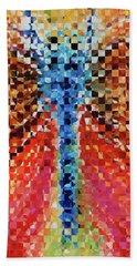 Modern Dragonfly Art - Pieces 6 - Sharon Cummings Beach Towel by Sharon Cummings