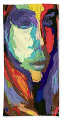 Beach Sheet featuring the digital art Modern Impressionist Female Portrait by Rafael Salazar