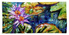 Modern Impressionist Lily Pond Reflections Beach Sheet