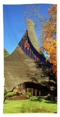 Modern New England Church In Fall Beach Sheet