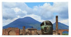 Modern Pompeii Art With Mount Vesuvius Beach Sheet
