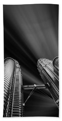 Modern Skyscraper Black And White Picture Beach Towel