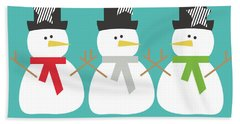 Modern Snowmen Happy Holidays- Art By Linda Woods Beach Towel