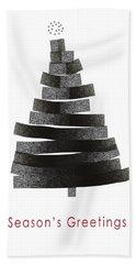 Modern Winter Tree- Season's Greetings Art By Linda Woods Beach Towel