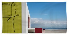 Modernist Architecture Red, Blue And Yellow Beach Towel by Lana Enderle