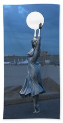 Modernist Lamppost At Night Beach Towel
