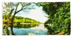 Beach Towel featuring the photograph Mohegan Lake By The Bridge by Derek Gedney