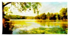 Beach Towel featuring the painting Mohegan Lake Hidden Oasis by Derek Gedney