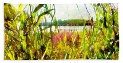 Beach Towel featuring the painting Mohegan Lake In The Brush by Derek Gedney