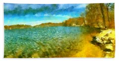 Beach Towel featuring the painting Mohegan Lake Panoramic Beach by Derek Gedney