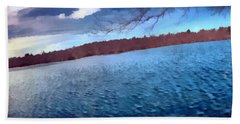 Beach Towel featuring the painting Mohegan Lake Panoramic Lake by Derek Gedney