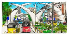 Moi Ave, Mombasa Tusks  Beach Towel