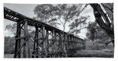 Beach Towel featuring the photograph Mollisons Creek Trestle Bridge by Linda Lees
