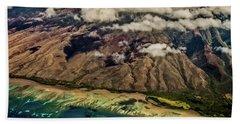 Molokai From The Sky Beach Sheet by Joann Copeland-Paul