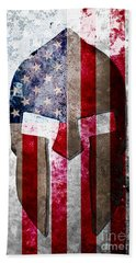 Molon Labe - Spartan Helmet Across An American Flag On Distressed Metal Sheet Beach Towel by M L C