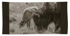 Beach Towel featuring the photograph Mom And Baby Buffalo by Rebecca Margraf