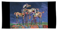 Mom And Foals Beach Towel