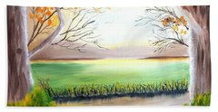 Momma Duck And Ducklings Beach Towel